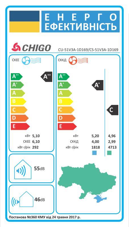 Энергоэффективность Chigo CU-51V3A-1D169 CS-51V3A-1D169
