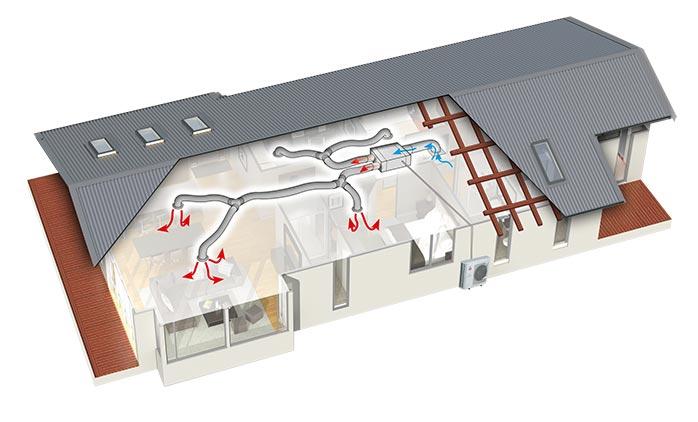 Схема канального кондиционирования Mitsubishi Electric